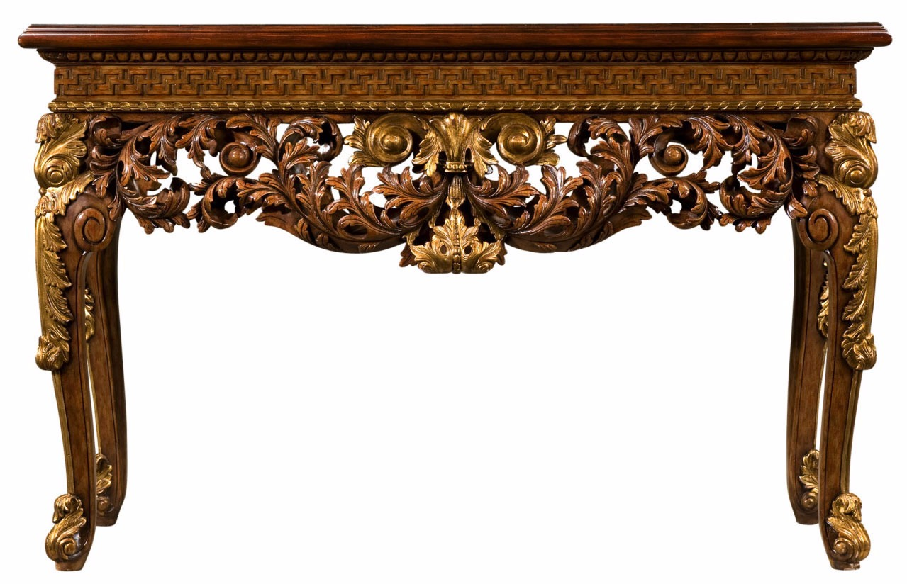 Neoclassical mahogany console table