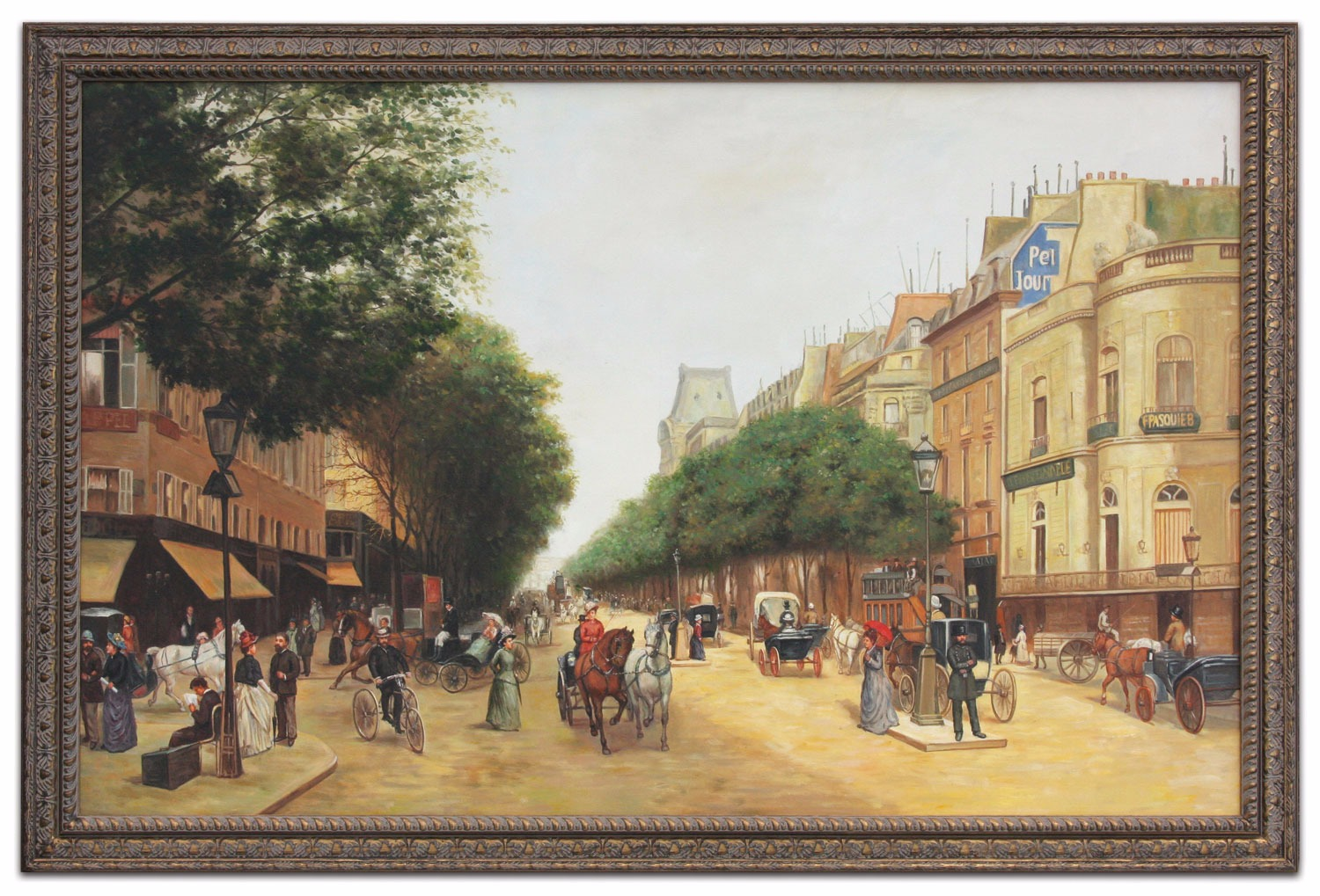 Oil Painting after 'Le boulevard des Italiens, Paris' by Edmond Georges Grandjean