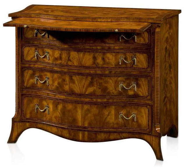 Regency style serpentine chest of drawers