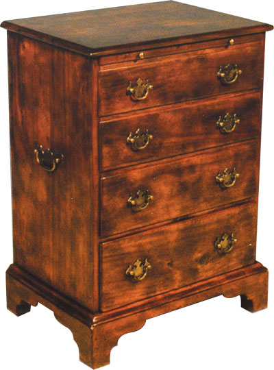 George III style walnut bedside chest of drawers