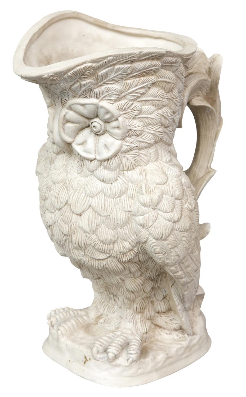 Parian Ware White Cramic Owl Jug