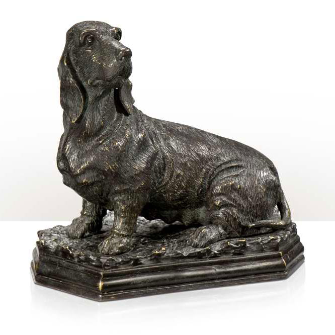Verdigris brass dachshund