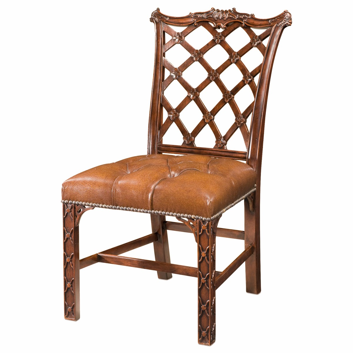 A rustic mahogany dining side chair