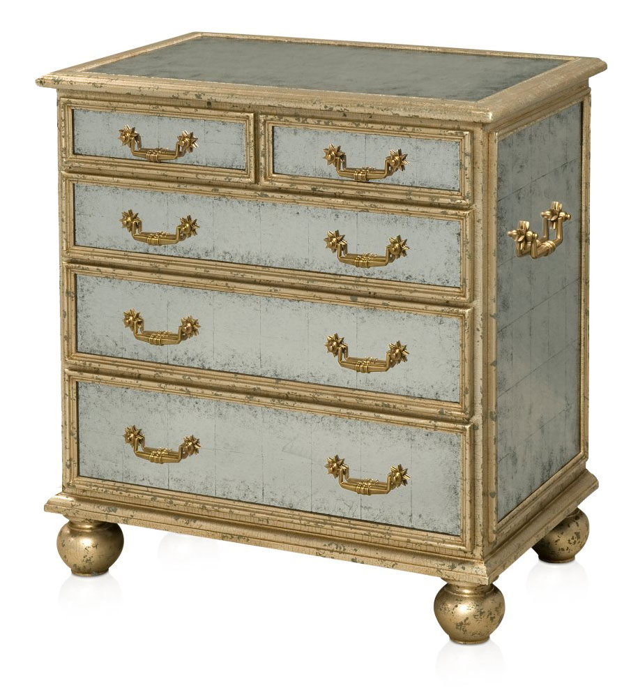 Silver leaf mirrored chest of drawers
