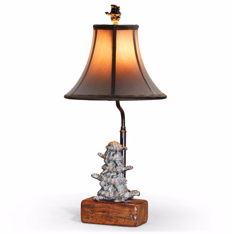Verdigris brass tortoise table lamp