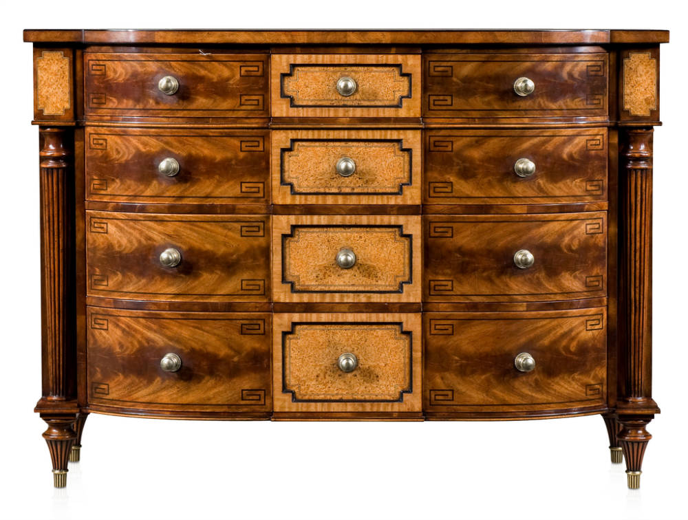 Mahogany break bowfront chest of drawers
