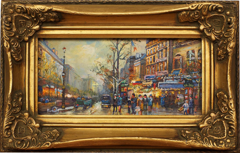 Paris Scene, framed oil painting
