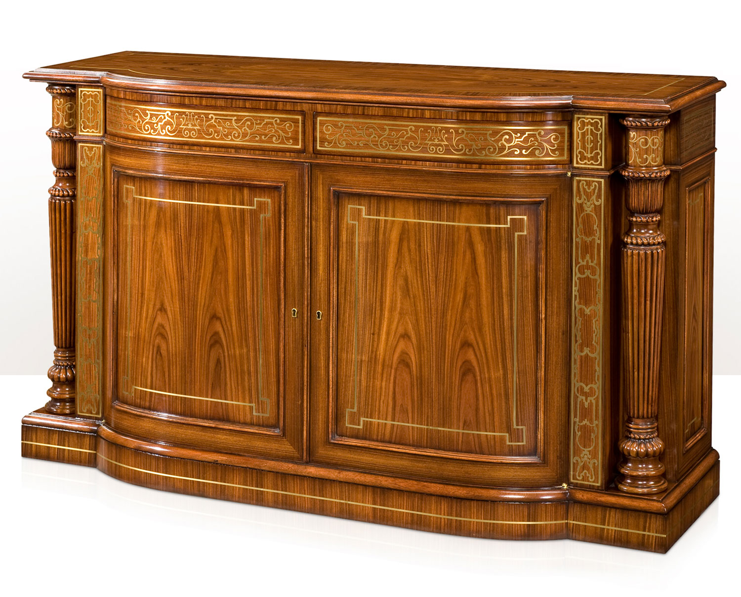 An exceptional break bowfront side cabinet