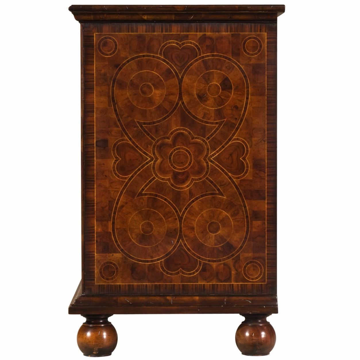 An oyster veneered chest of drawers