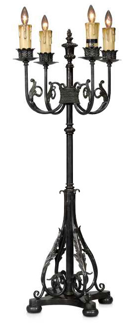 A verdigris brass table lamp