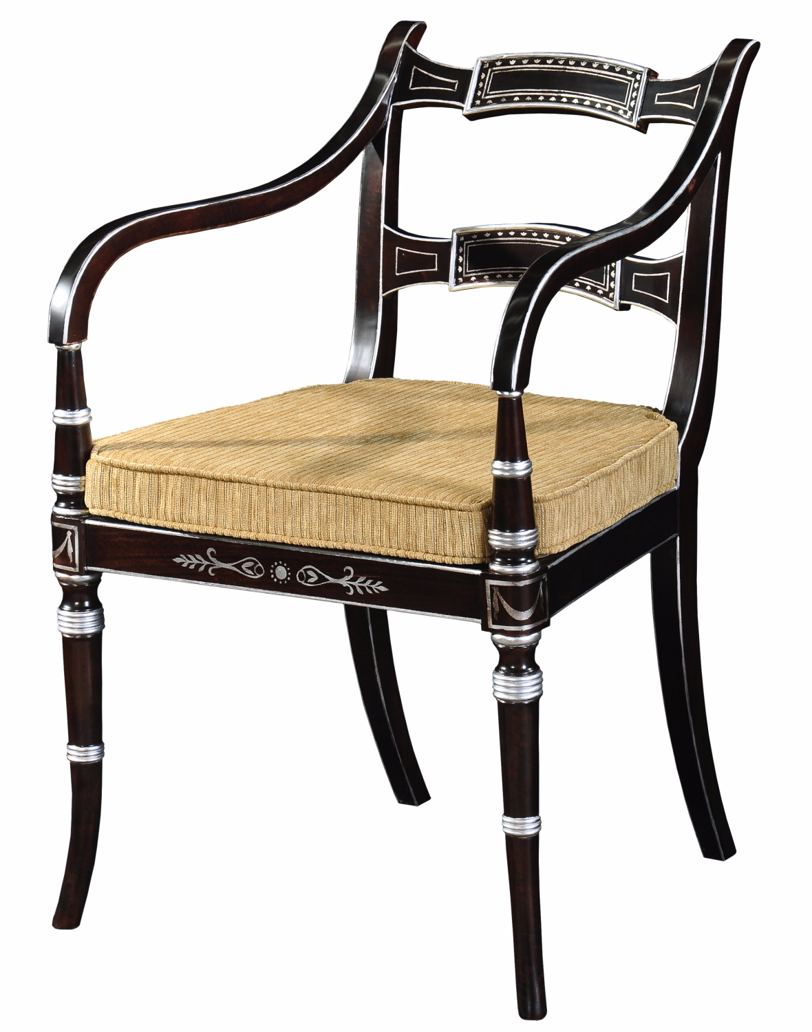Regency style ebonised and silver gilt chair