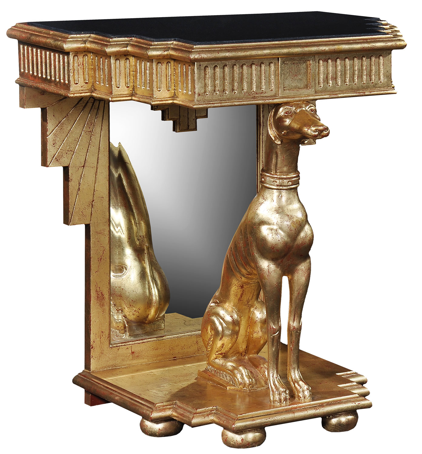 Gold leaf console table - Antique finish