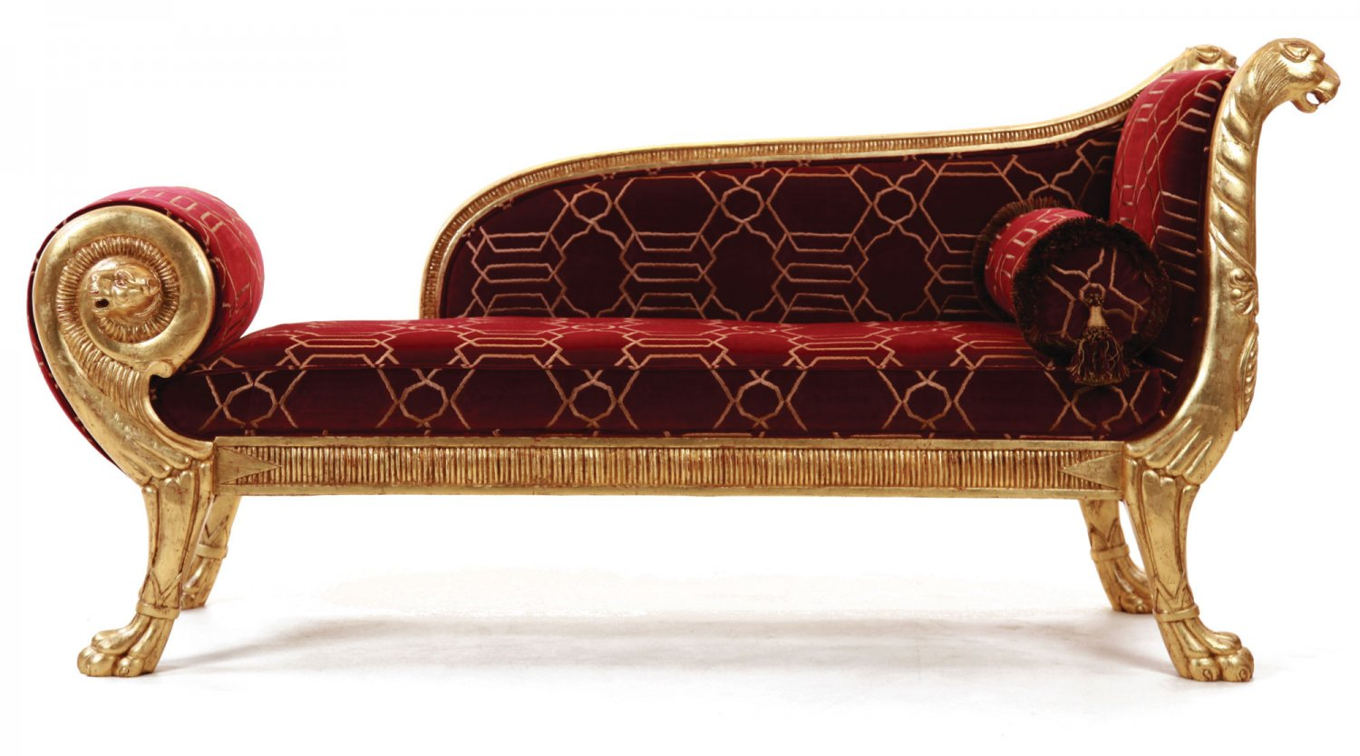 Gillows style chaise longue in red velvet