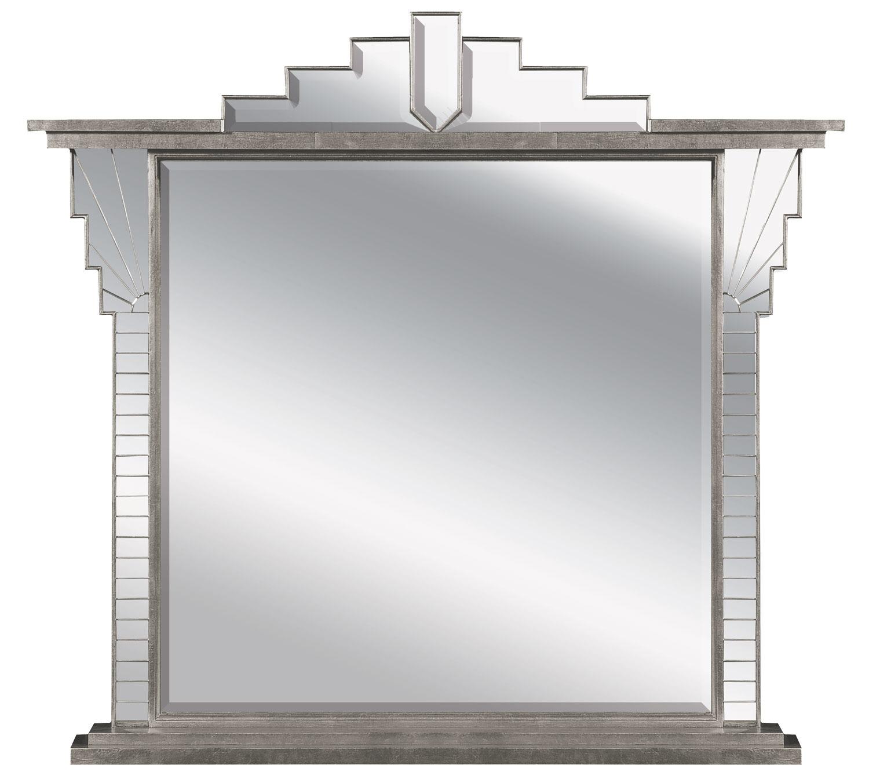 Silver Art Deco style overmantel mirror