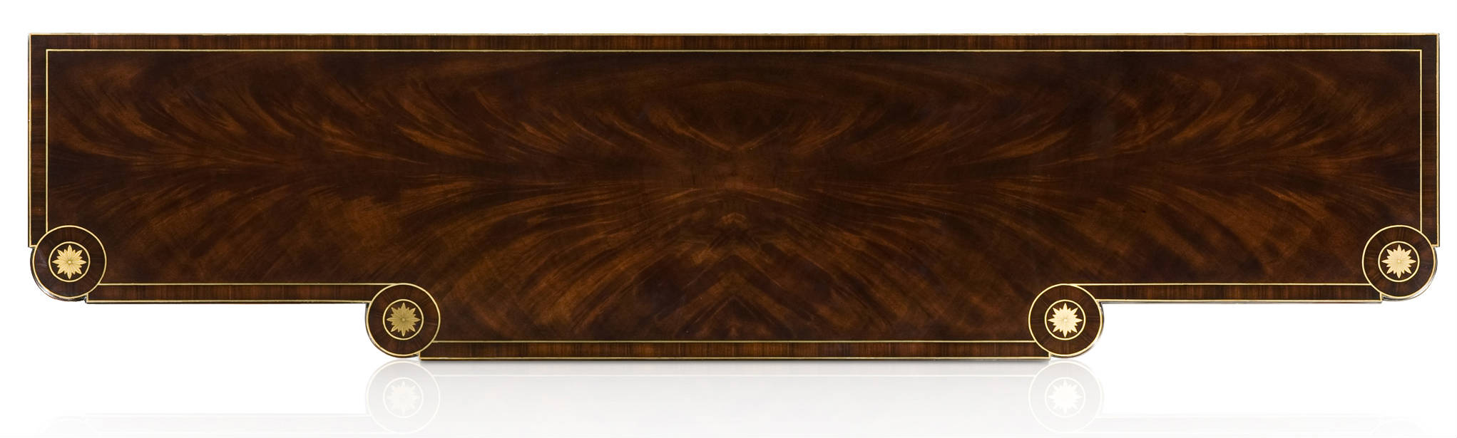 An ebonised flame mahogany buffet