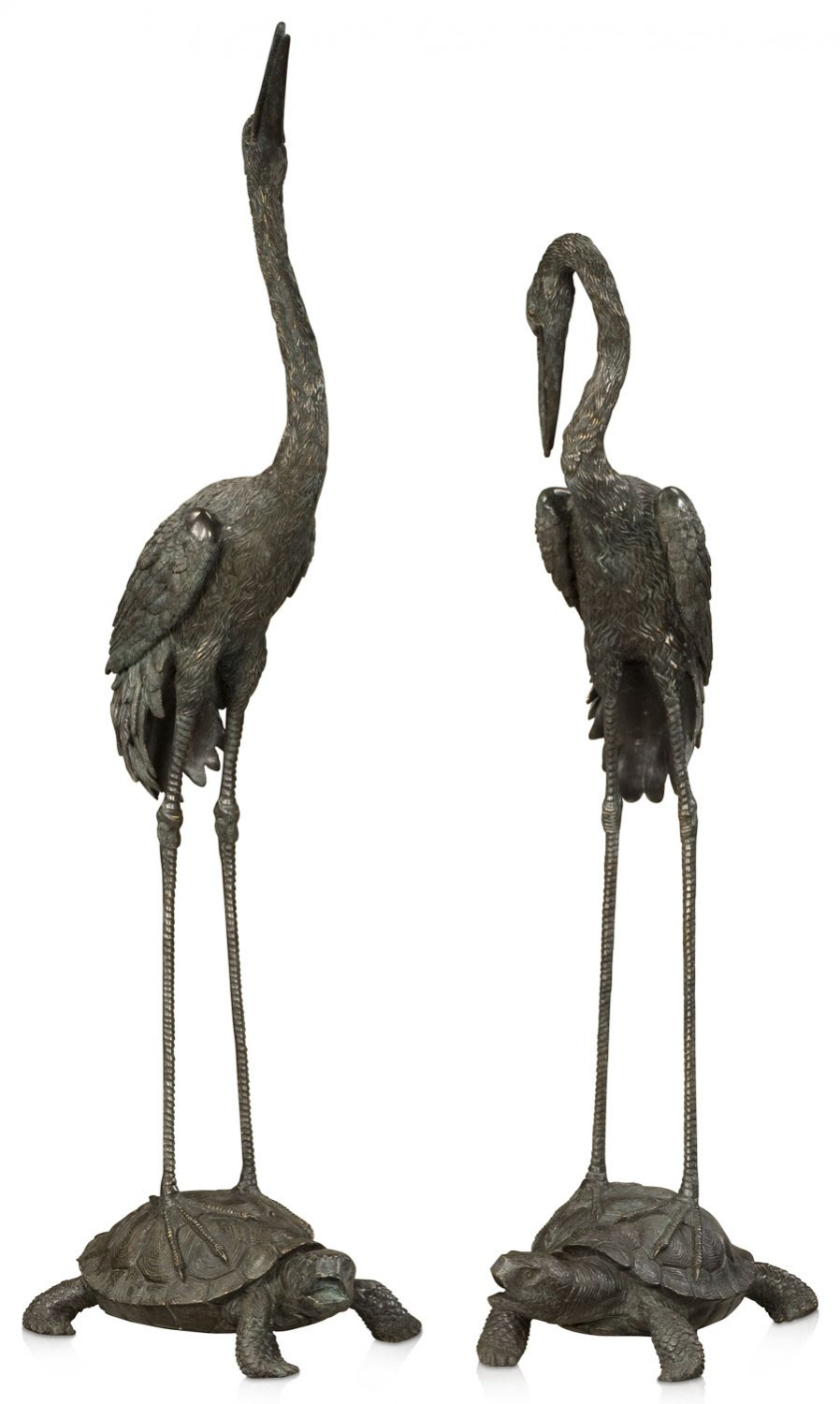 Pair of large verdigris brass cranes