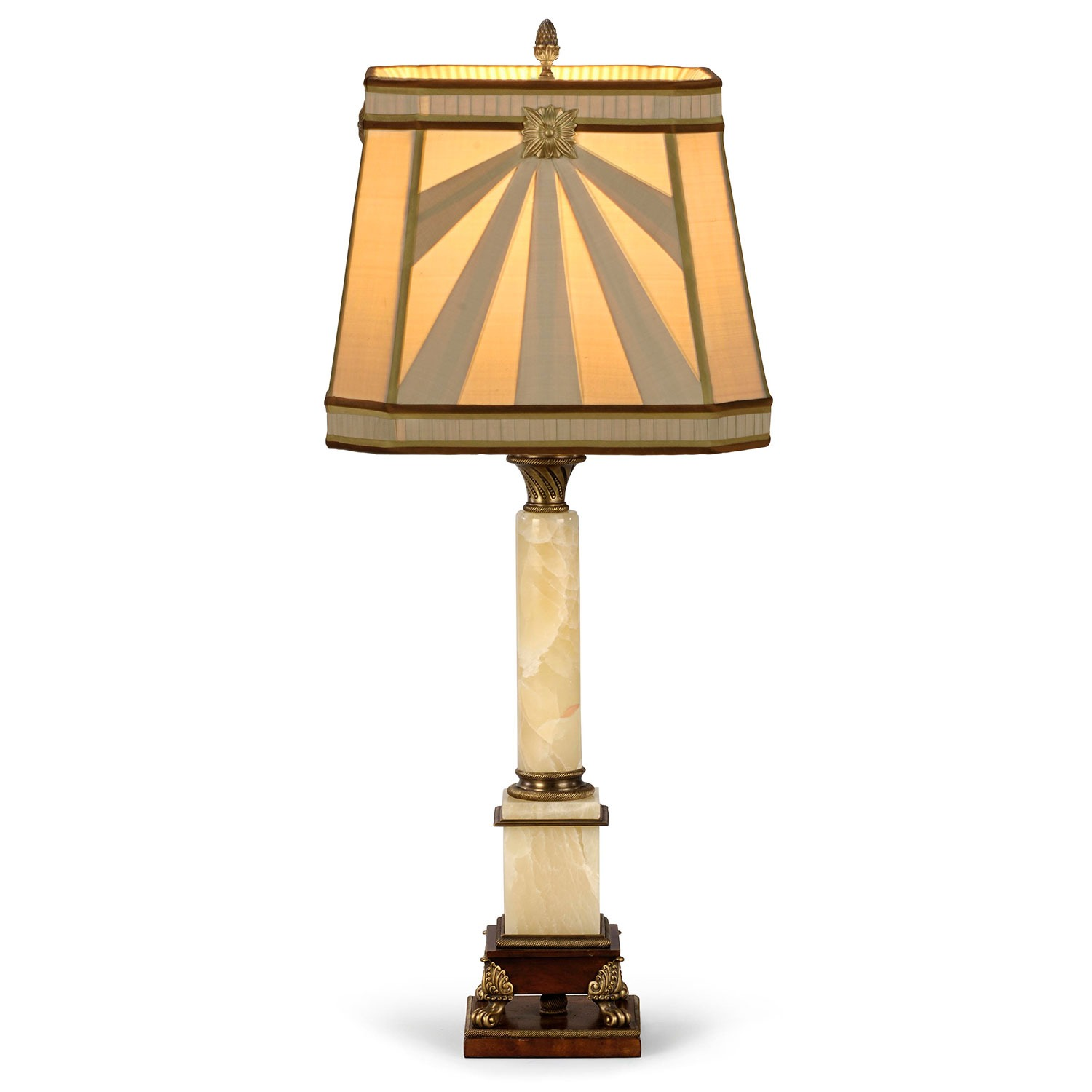 An onyx and brass table lamp