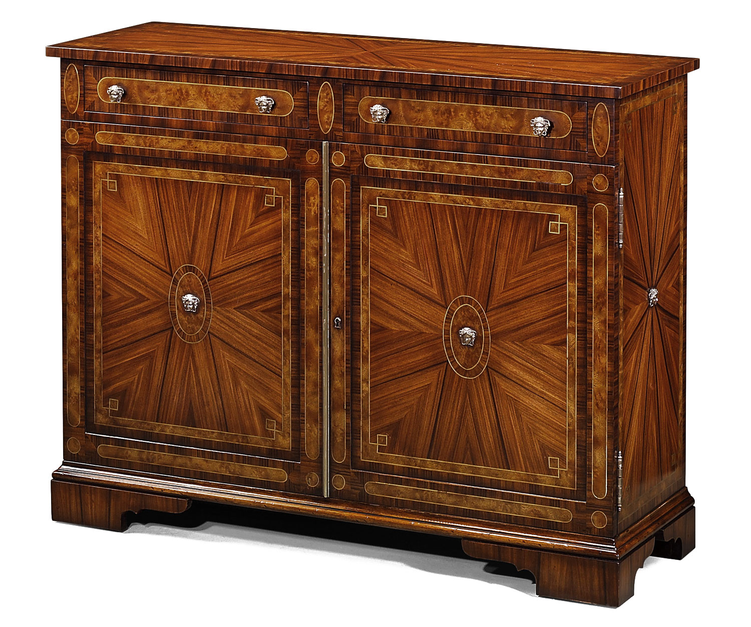 Regency style rosewood inlaid side cabinet