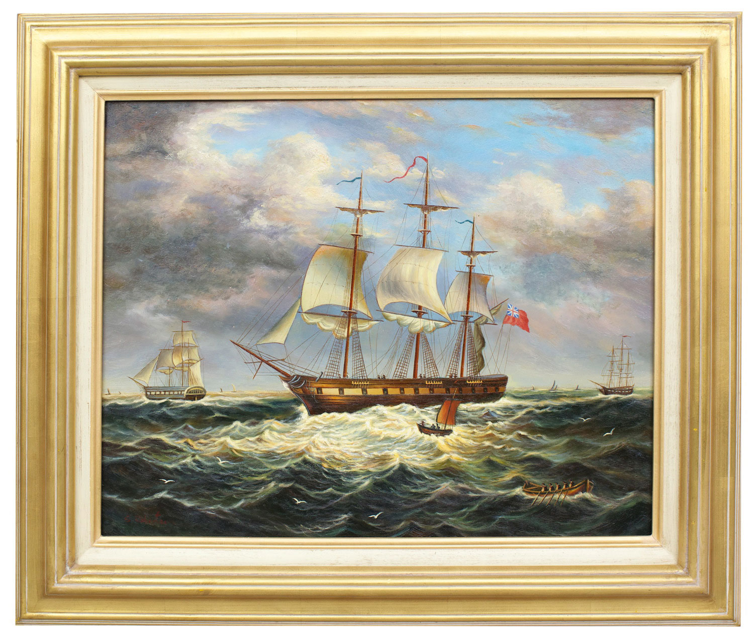Sailing ship in Strong wind, framed oil painting