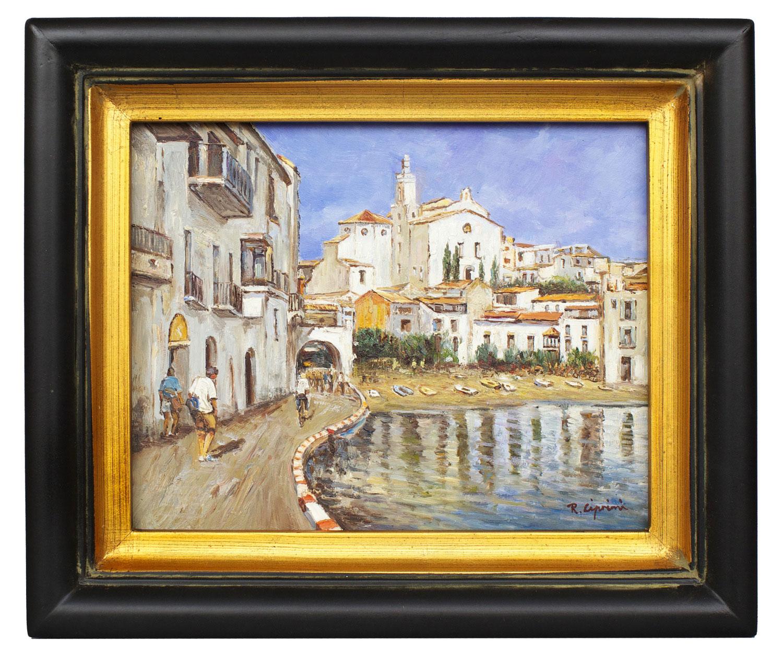 Mediterranean Harbour scene, framed oil painting