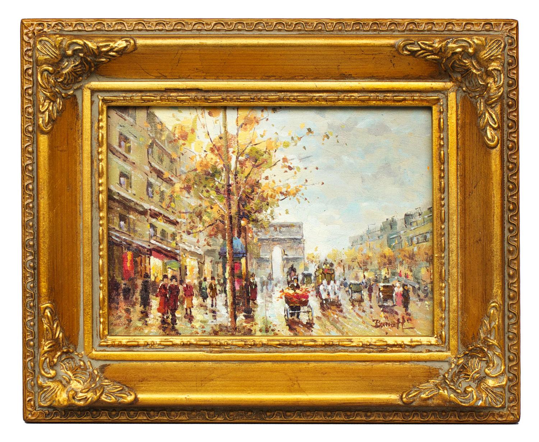 Paris street scene, framed oil painting