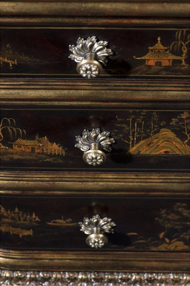 Chocolate Chinoiserie hand painted pedestal desk