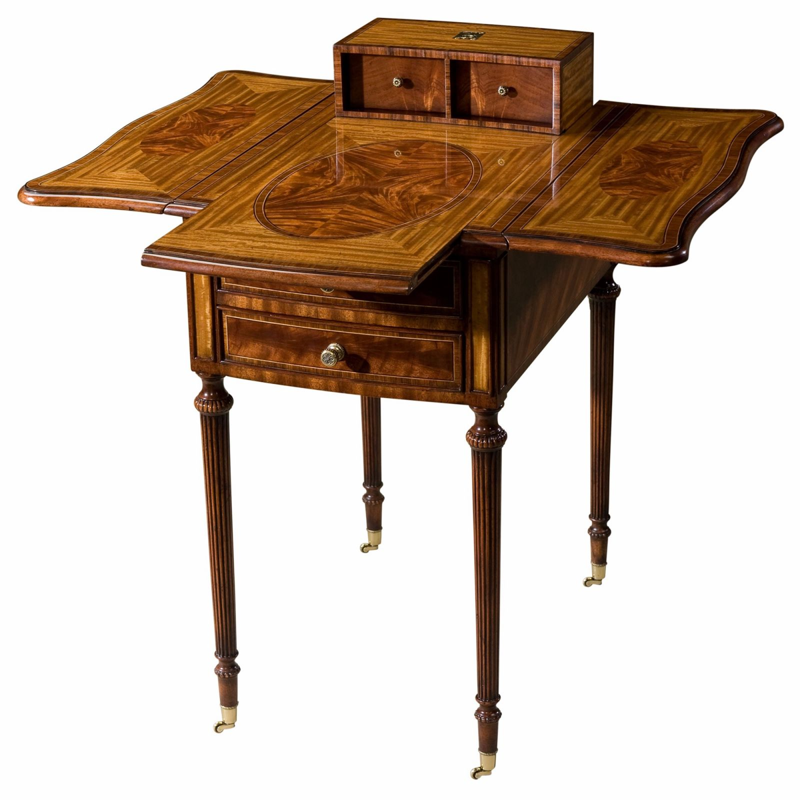 Satinwood and Flame Mahogany Inlaid Harlequin Table