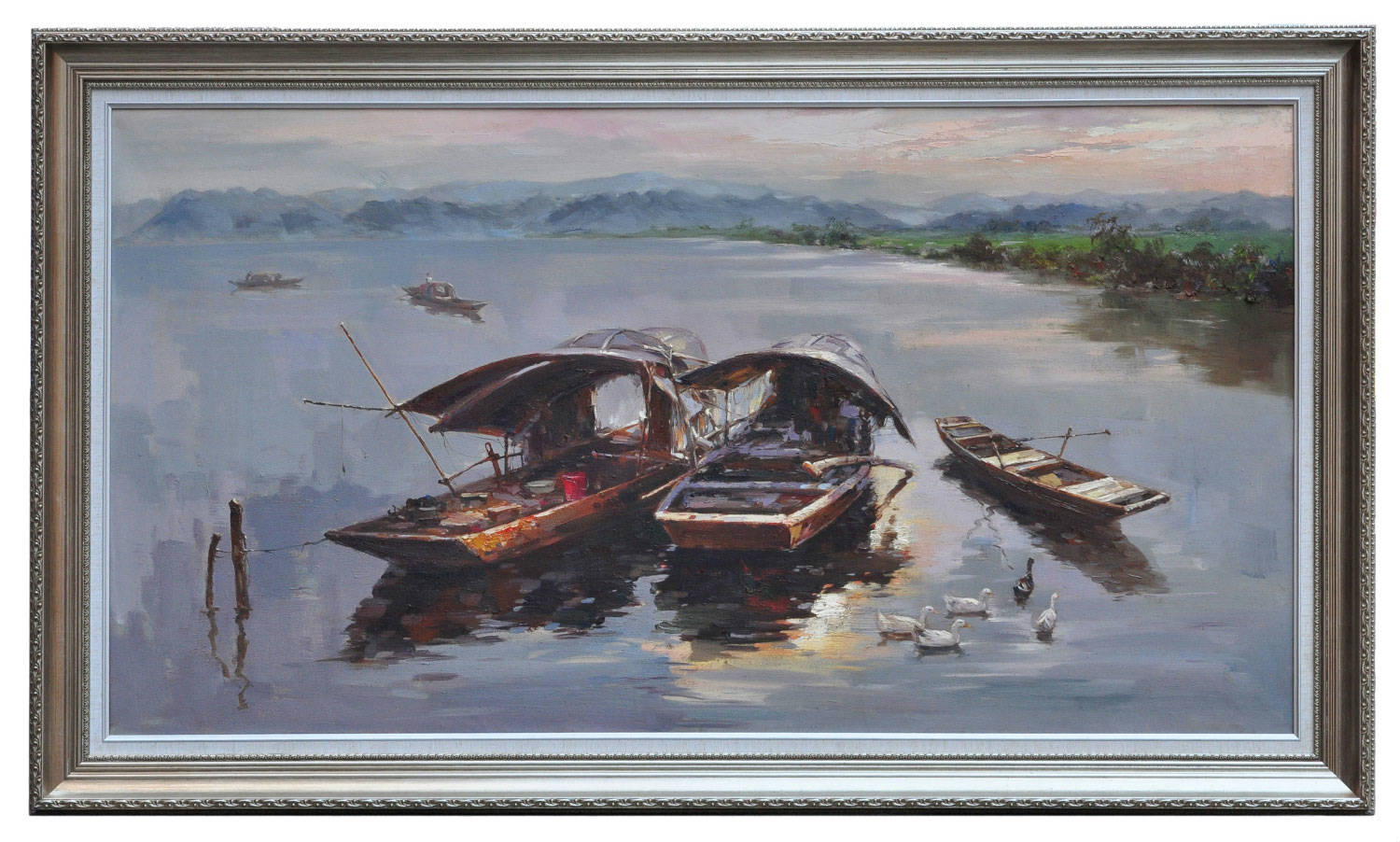 Boats on quiet river, original oil painting