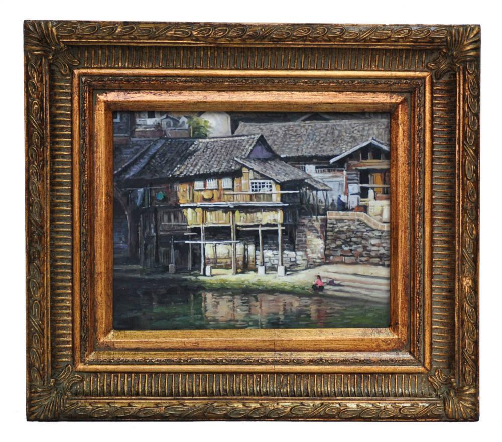 House on stilts near Nanning, framed oil painting