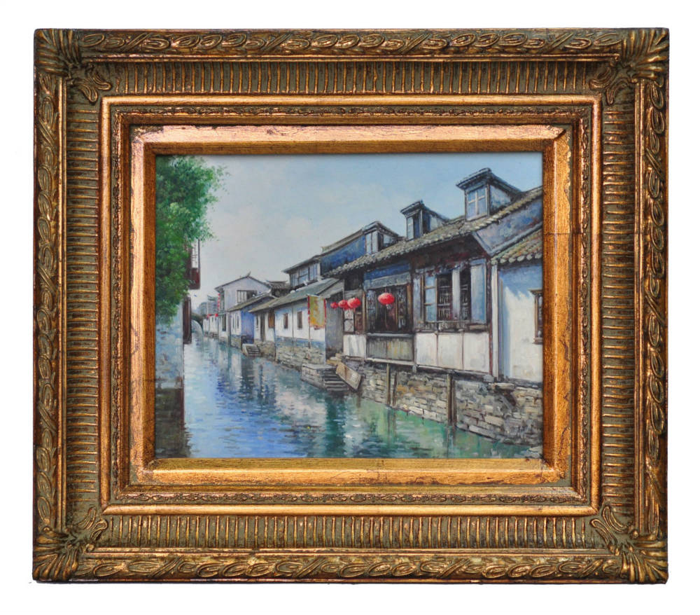 House on the river at Nansien, framed oil painting