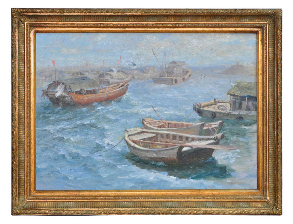 Boats at Chingkiang, framed oil painting