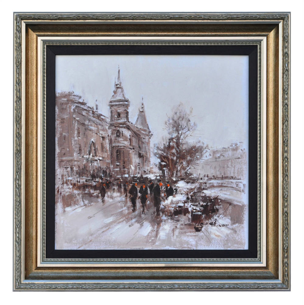 Pont de Bercy Paris, framed oil painting
