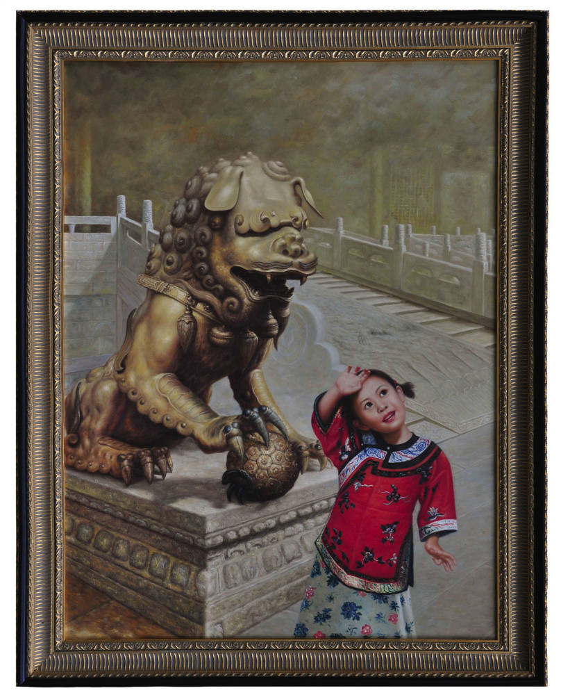 Young Chinese girl with dragon at temple, oil painting