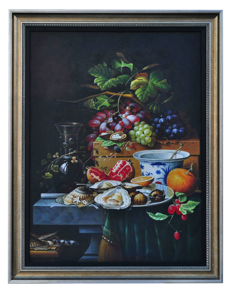 Still life of seafood and fruit, original oil painting