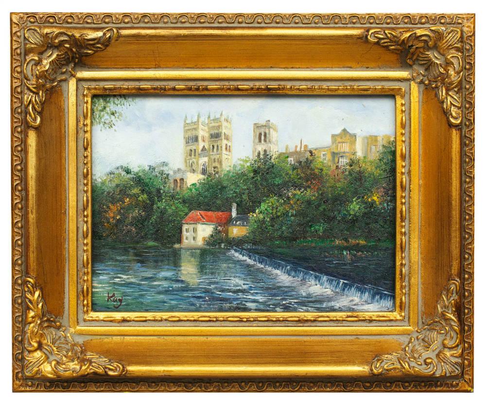 Paris river scene, framed oil painting