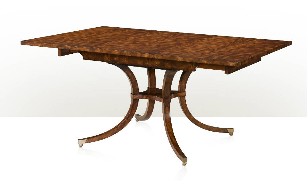 Transitional flame mahogany extending dining table
