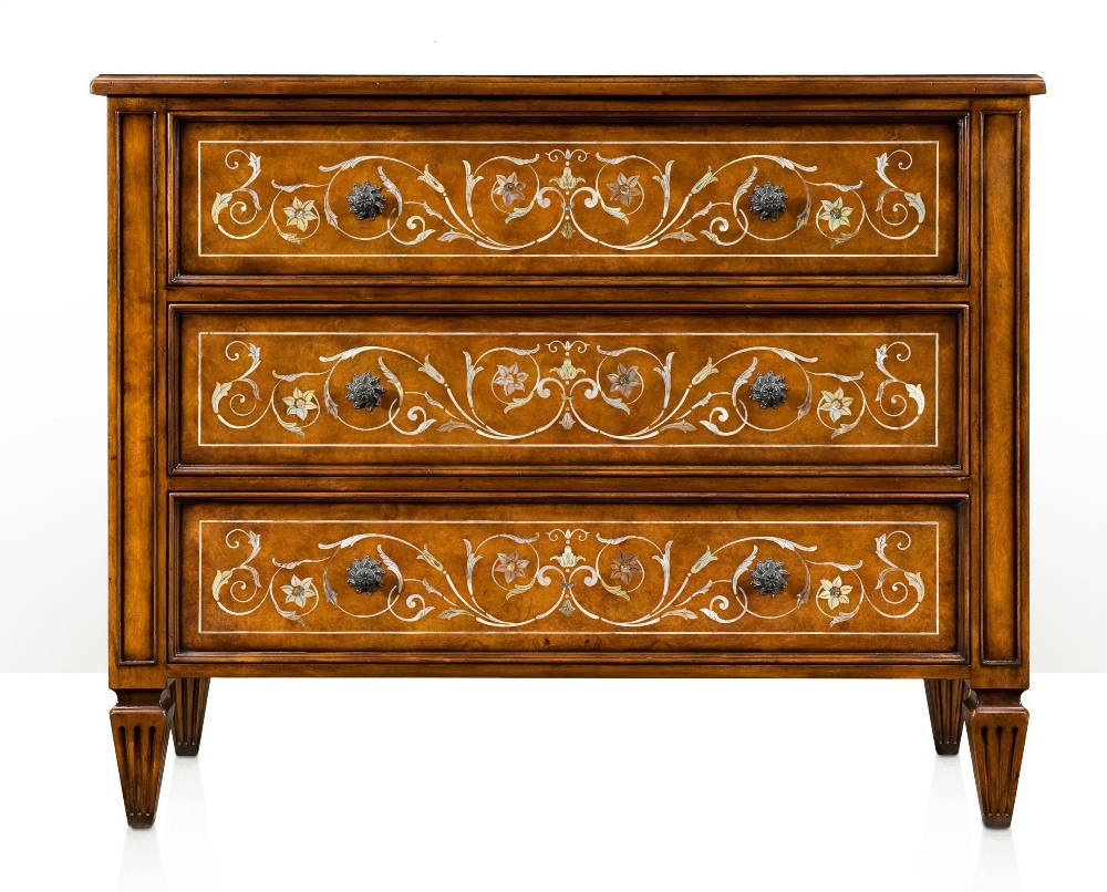 Rosewood Chest of Drawers with Mother of Pearl inlay