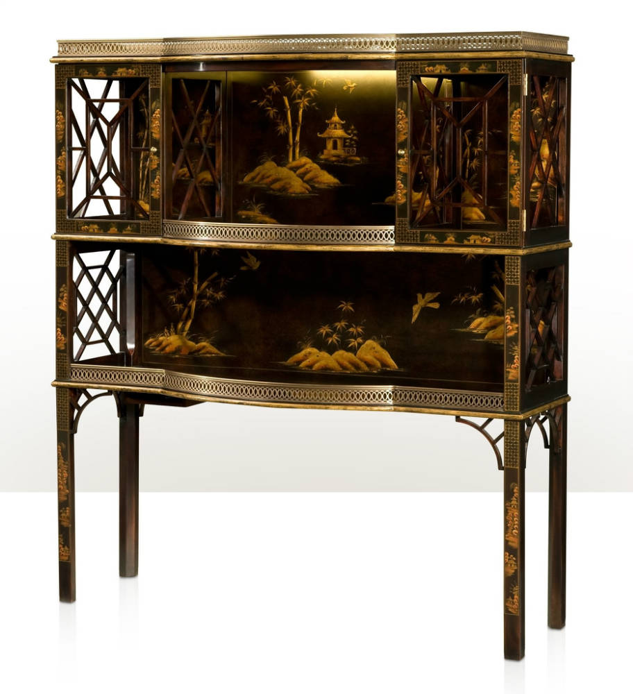 An imbuya chocolate Chinoiserie bar or display cabinet