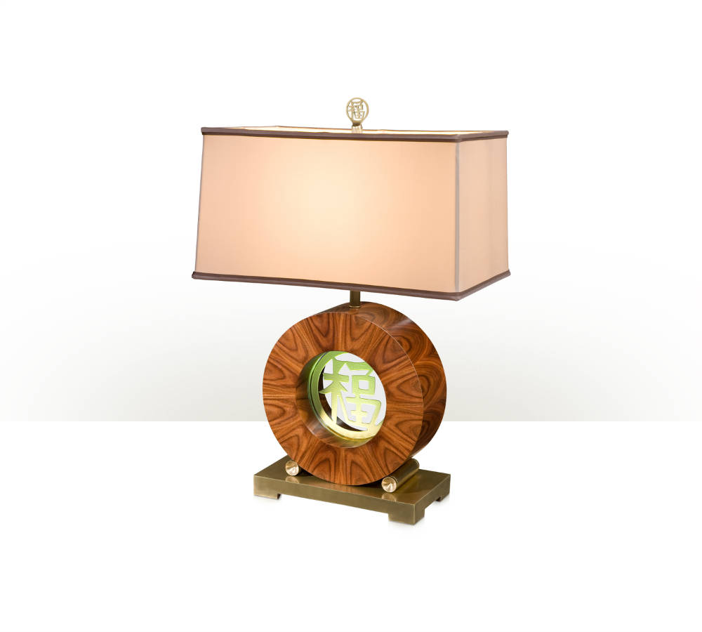 An etched glass inset table lamp