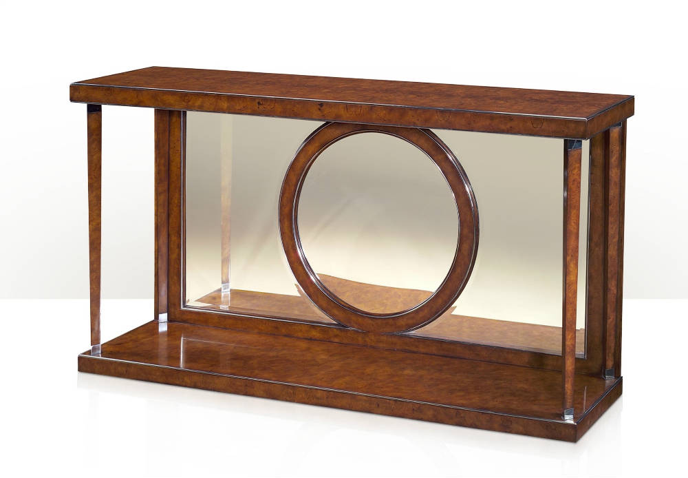 A modern pollard burl console table
