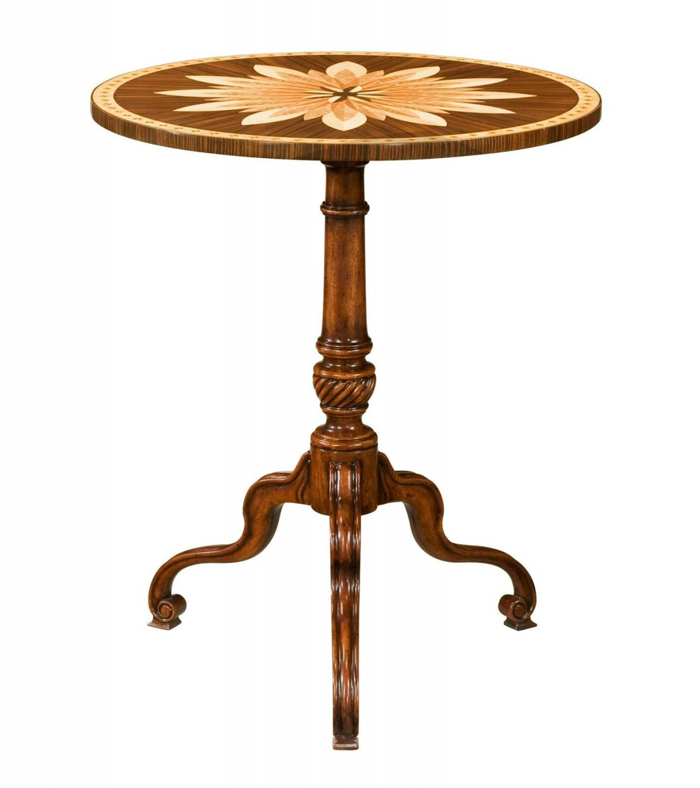 A mahogany and marquetry tripod table