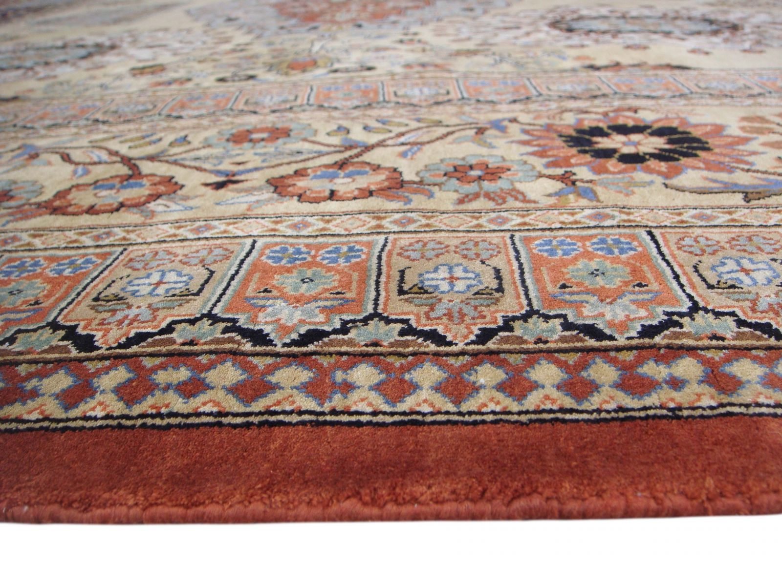Heriz design silk carpet