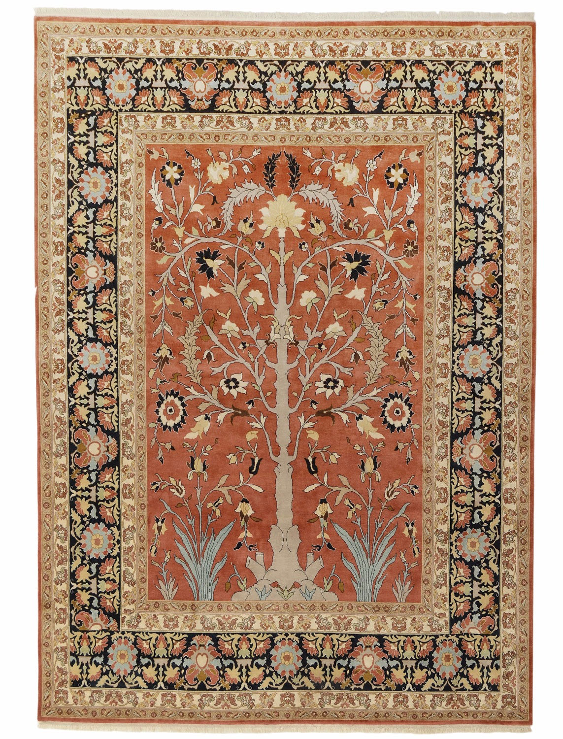 Tabriz Tree Of Life Design Silk Pile Carpet Silk Rugs From Brights