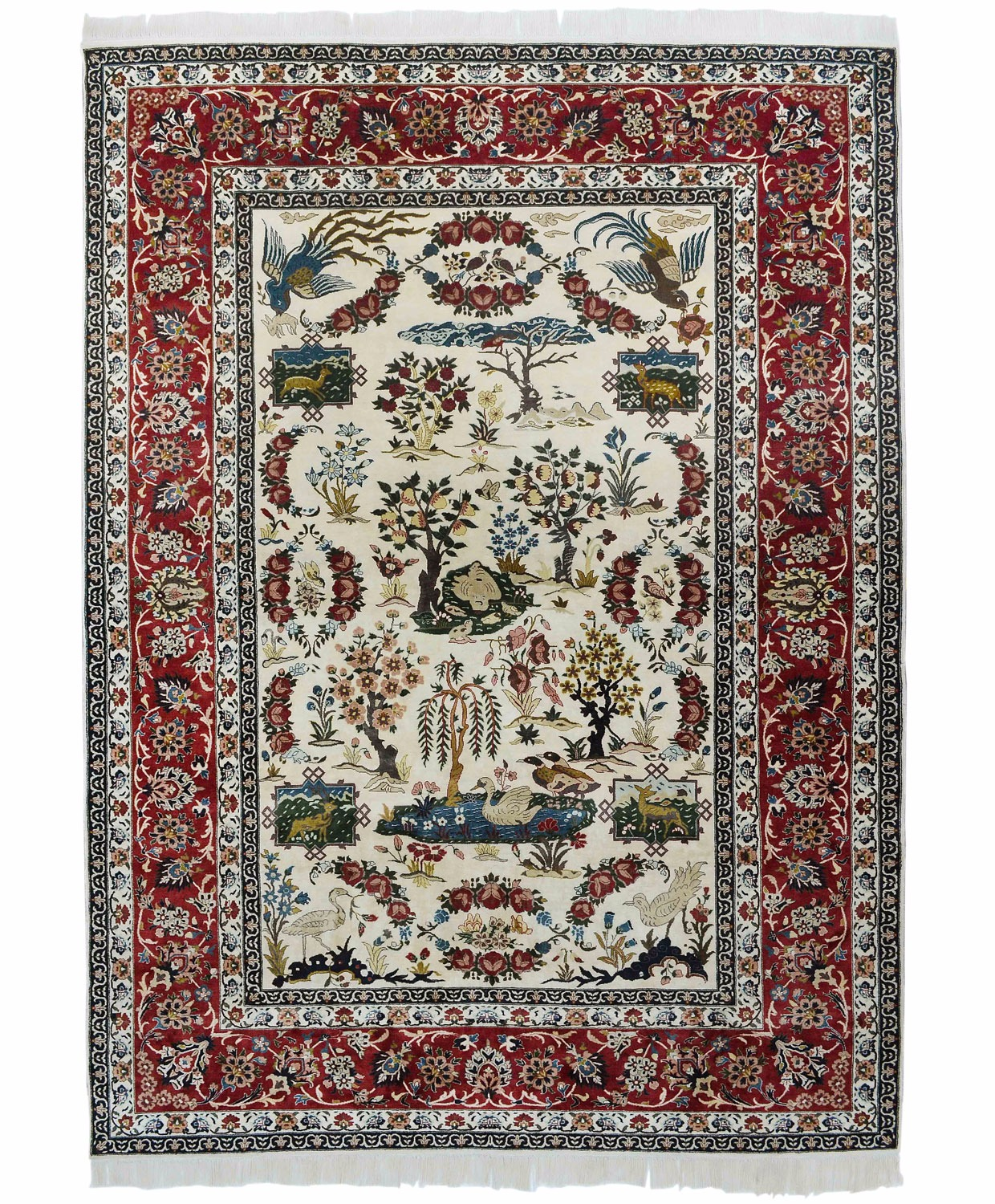 Isfahan Paradise design silk pile carpet