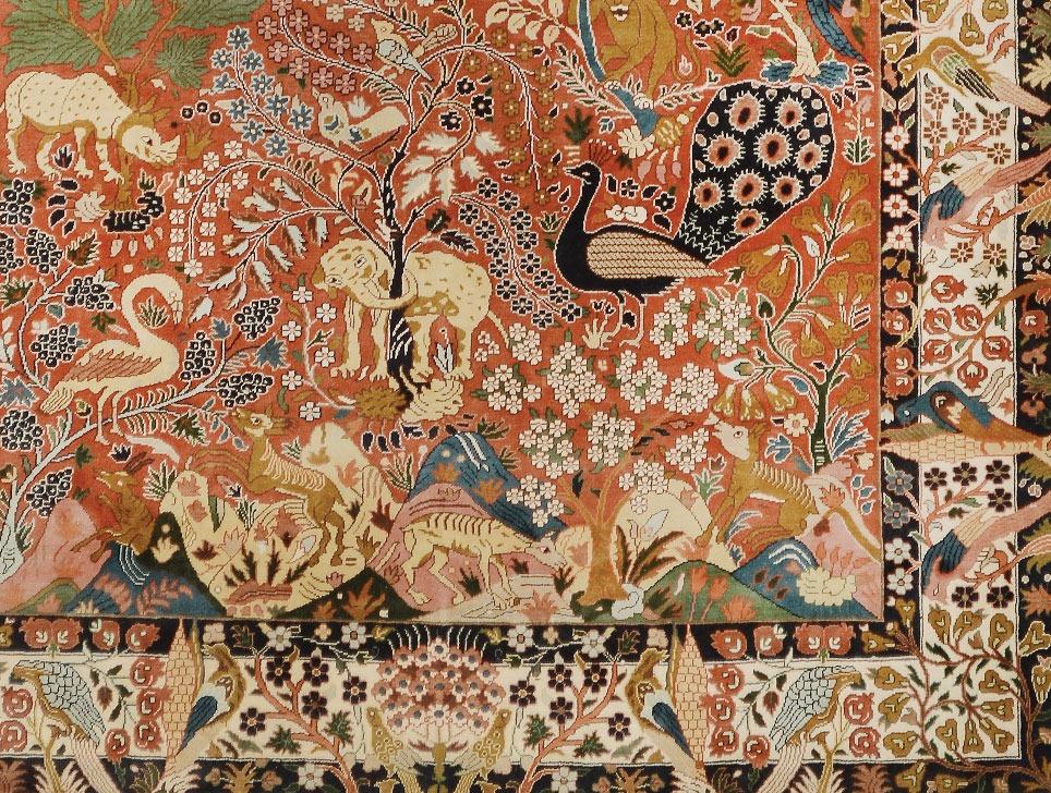 Yazd Paradise design silk pile carpet