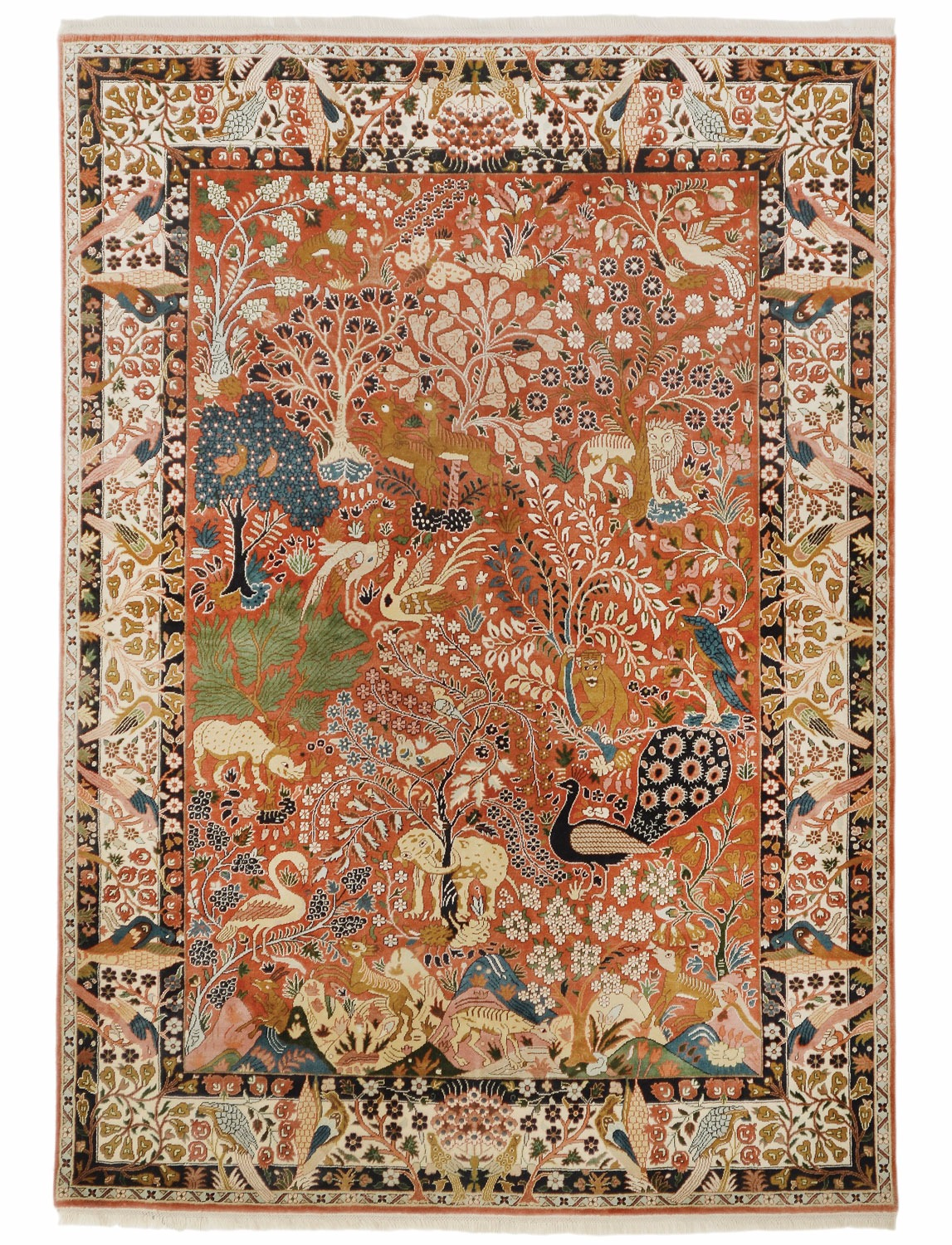 Yazd Paradise Design Silk Pile Carpet Silk Rugs From