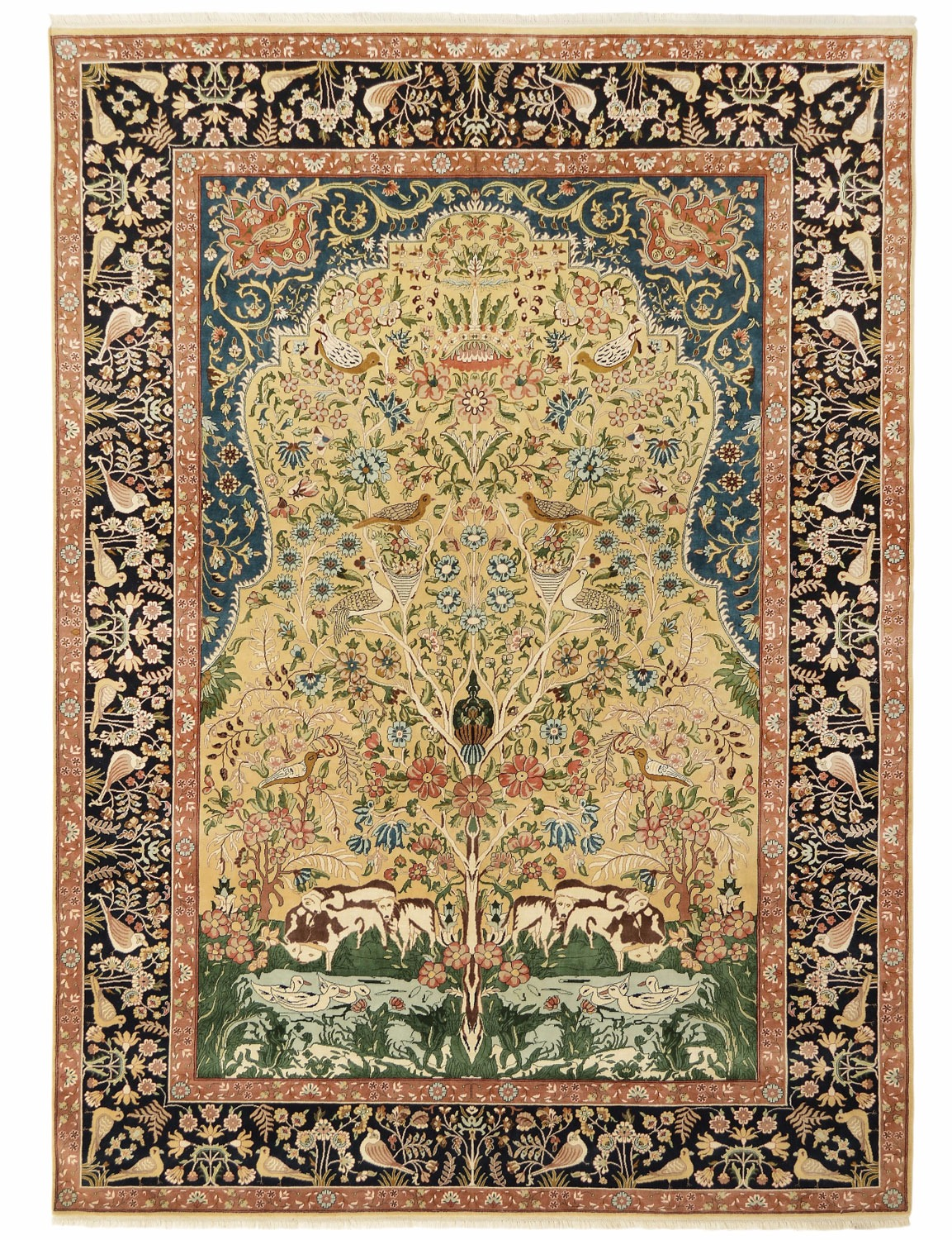 Tree Of Life Design Silk Pile Carpet