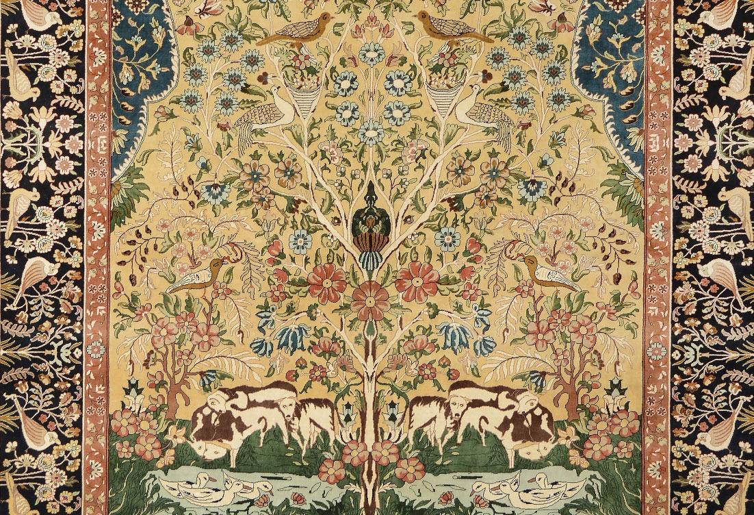 Kerman-Laver Tree of Life design silk pile carpet