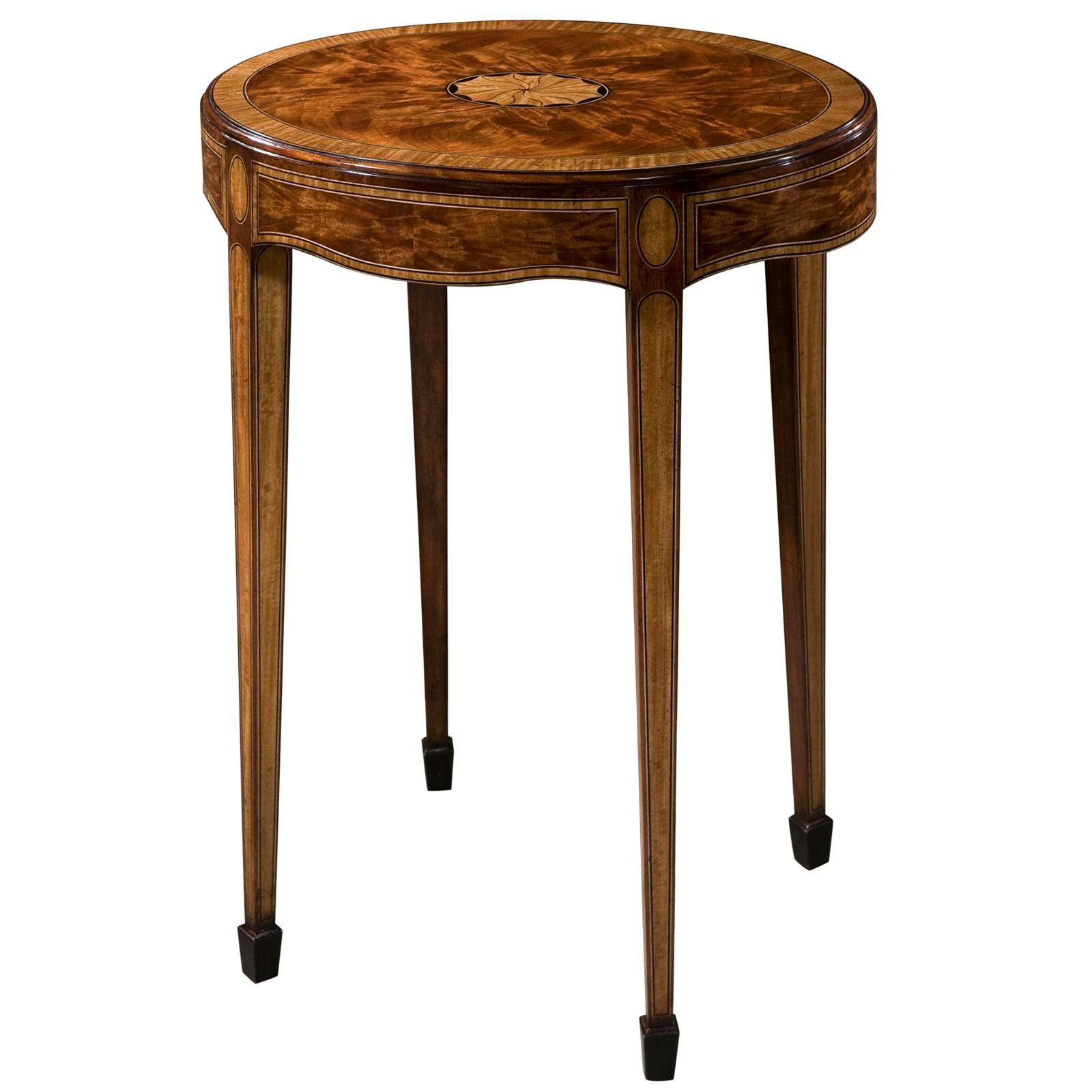 Oval flame mahogany accent table