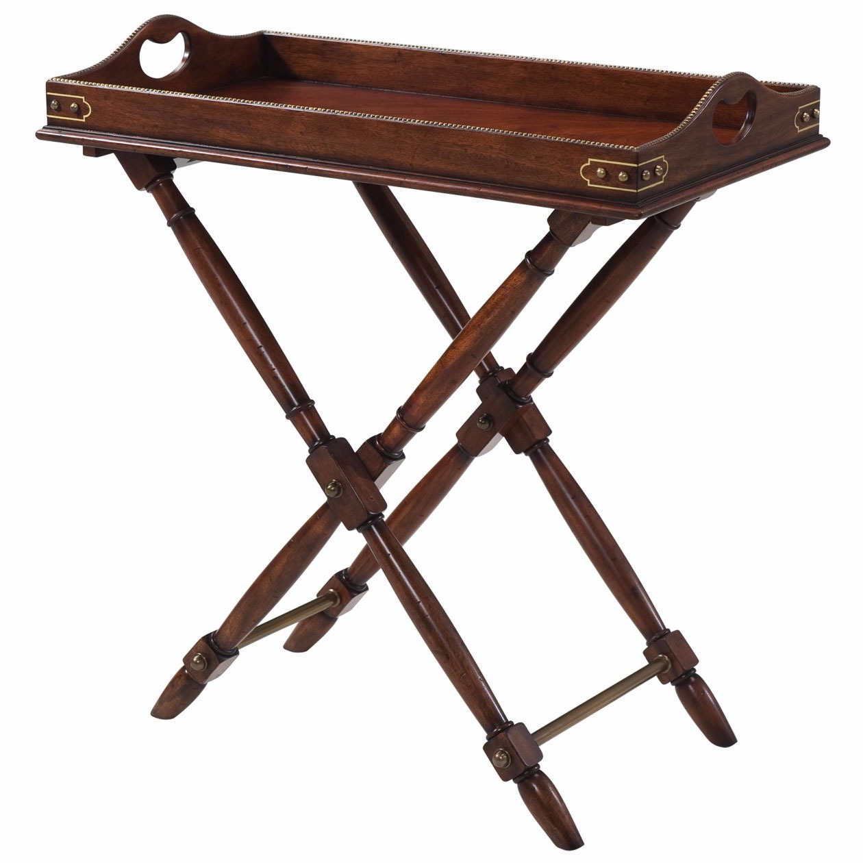 A mahogany butler's tray accent table